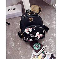 Женский рюкзак сумка MOJOYCCE Эко-кожа PU цветочный принт Магнолия шипы черный