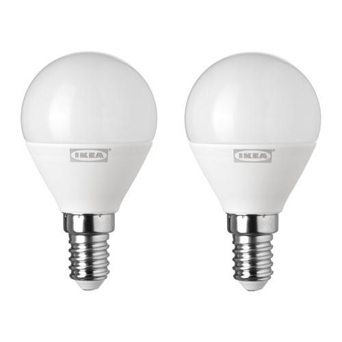 Светодиодная лампа IKEA RYET E14 400 лм 2 шт шарообразный молочный 303.888.01