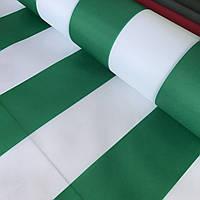 Тентовая ткань оксфорд в бело-зеленую полоску, ширина 150 см, фото 1