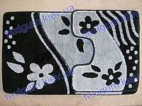 Набор ковриков для ванной, 60х100 + 60х50см. Цвет чёрно-серый