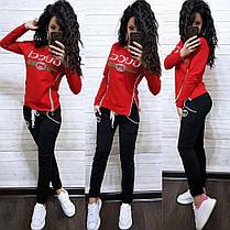 Костюм со змейками по бокам GUCCI, футболка с длинным рукавом и брюки, размеры от 42 до 52, фото 3