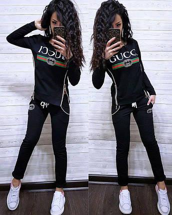 Костюм со змейками по бокам GUCCI, футболка с длинным рукавом и брюки, размеры от 42 до 52, фото 2
