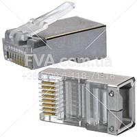 Коннектор RJ45 8p8c cat 5e экранированный FTP AT-com 100шт в упаковке