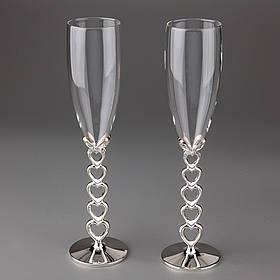 Свадебные бокалы 24.5см, материал мельхиор и стекло, цвет серебро (009G)