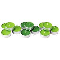 СИНЛИГ Ароматическая свеча в металической подставке, зеленое яблоко, зеленый, 90236348, IKEA, ИКЕА, SINNLIG