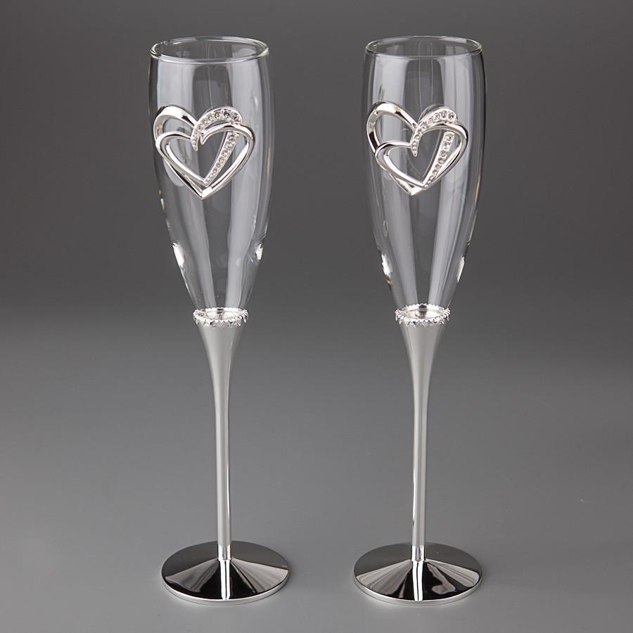 Свадебные бокалы Сердца влюбленных 005G