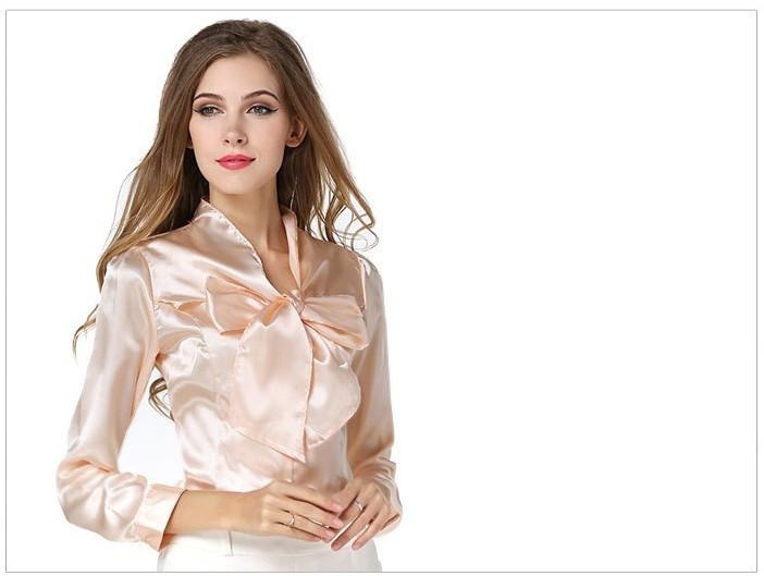 Распродажа модели! Женская атласная блуза-рубашка с бантом на пуговицах