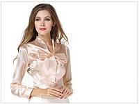 Распродажа модели! Женская атласная блуза-рубашка с бантом на пуговицах, фото 1
