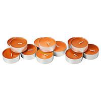 СИНЛИГ Ароматическая свеча в металической подставке, мандарин, оранжевый, 30236346, IKEA, ИКЕА, SINNLIG