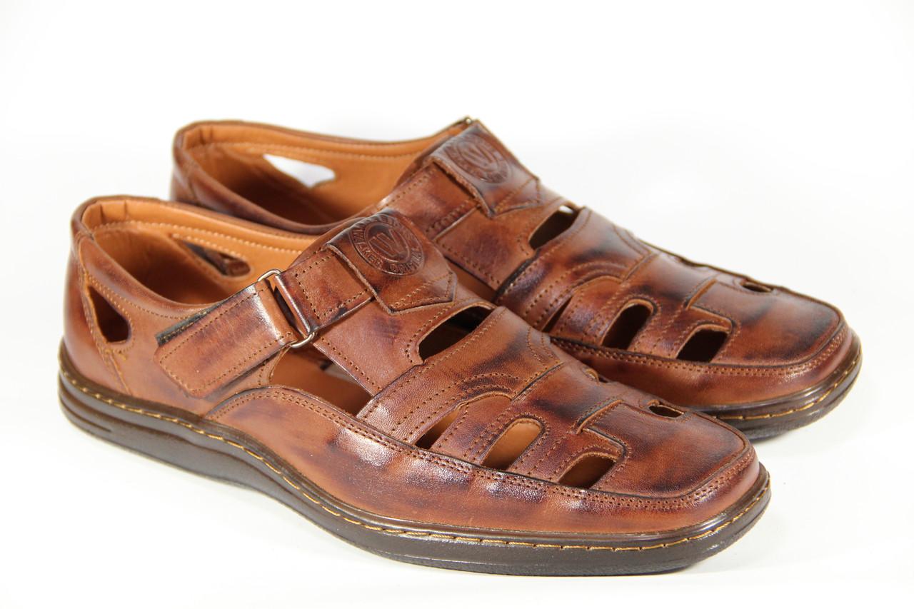 Летние мужские туфли из натуральной кожи на липучке ВОЛ 27 кор +