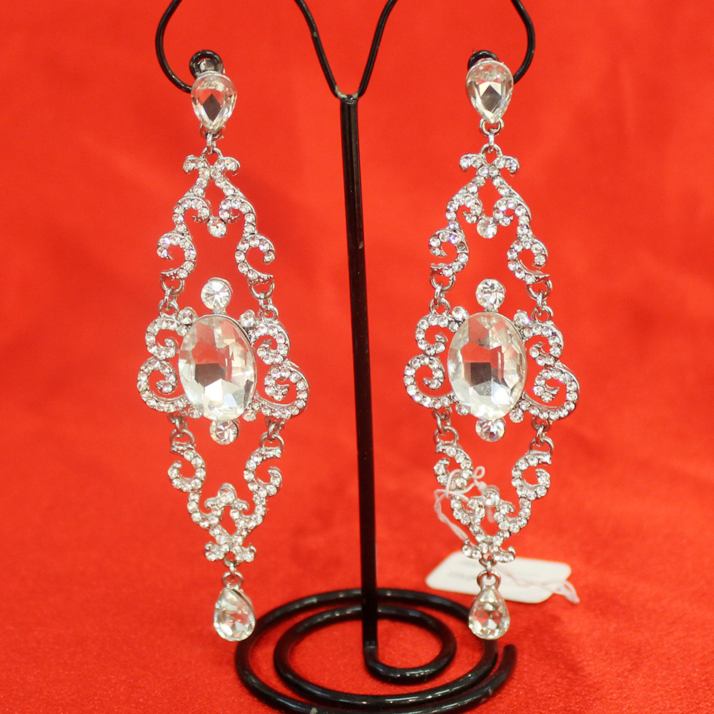 Висячие серьги с кристаллом (торжество, свадьба)