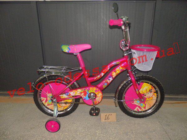 Детский двухколесный велосипед Винкс WINX 16 дюймов корзинка Азимут Кроссер