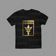 Футболка черная мужская Адидас, уникальный логотип Adidas летняя   спортивная