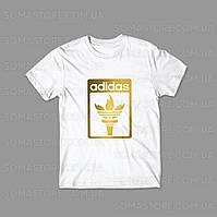 Футболка белая Адидас логотип, летняя мужская Adidas, Адик  спортивная