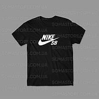 Найк футболка летняя мужская, черная Nike logo  спортивная