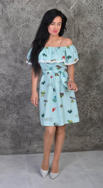 Каттоновое летнее платье с рюшей (размеры 44-50)