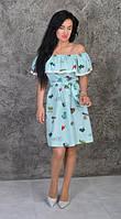 Каттоновое летнее платье с рюшей (размеры 44-50), фото 1