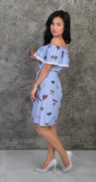 80395db260f7 Каттоновое летнее платье с рюшей (размеры 44-50)