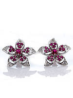 Серьги серебряные с рубином