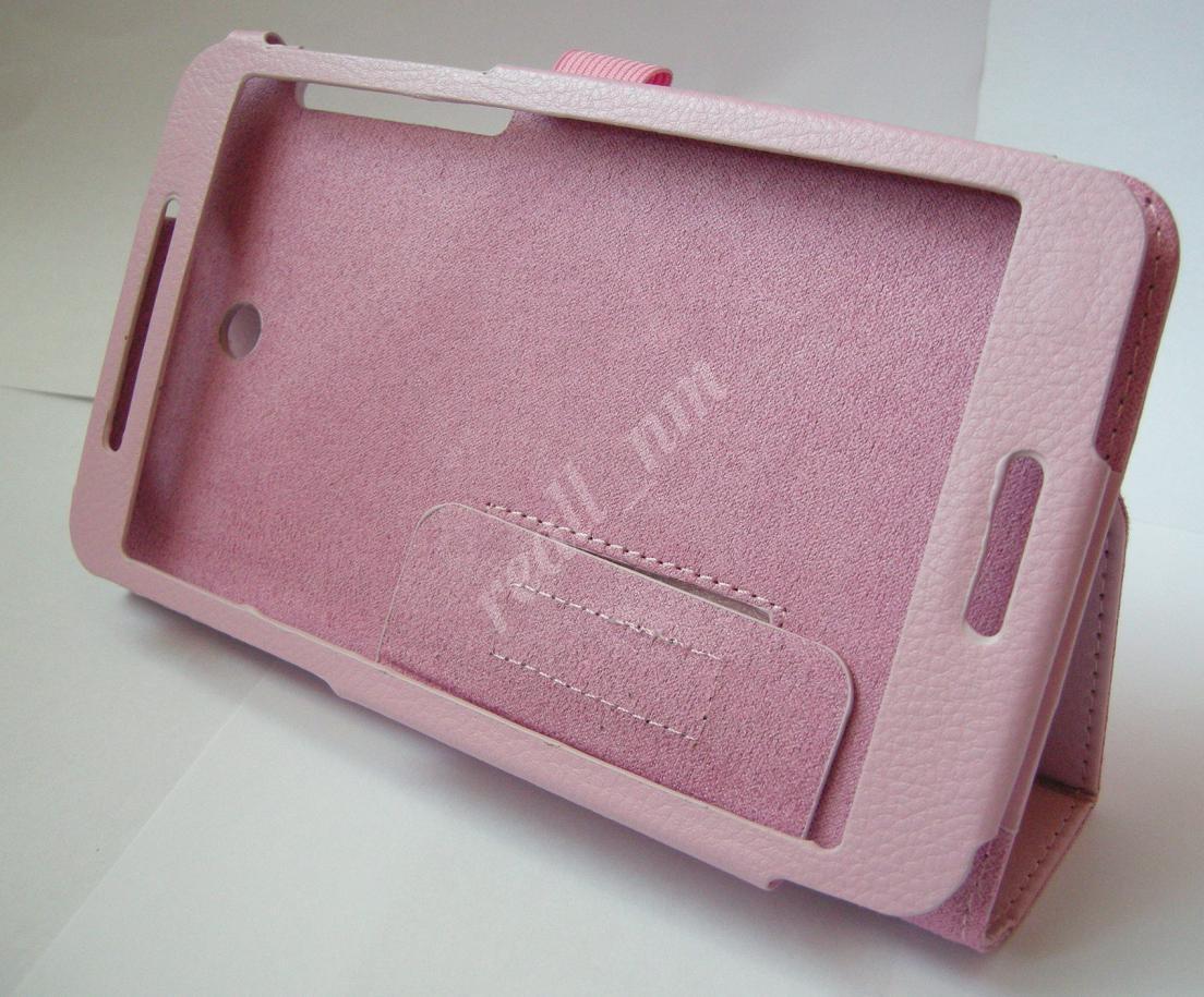 Розовый кожаный чехол-книжка Folio Case для планшета Asus Fonepad 7 FE375CG FE375CXG