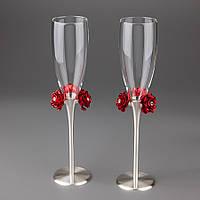 Свадебные бокалы Красные розы 026G
