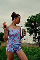 Молодежная синяя пижама с шортиками и принтом розовый фламинго
