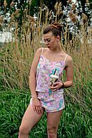Модная пижама из шортиков и топа с принтом единороги