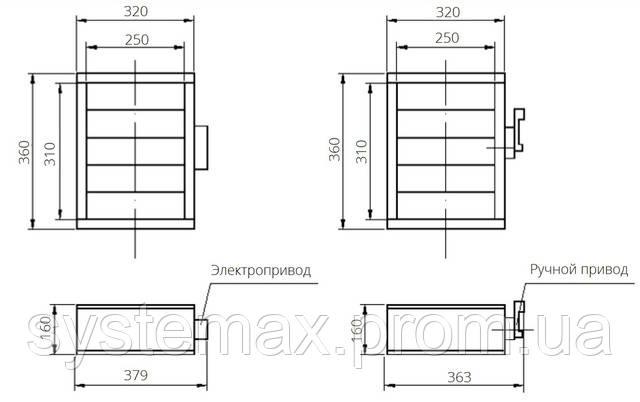 Габаритные и присоединительные размеры унифицированный клапан воздухозаборный УВК.000-01