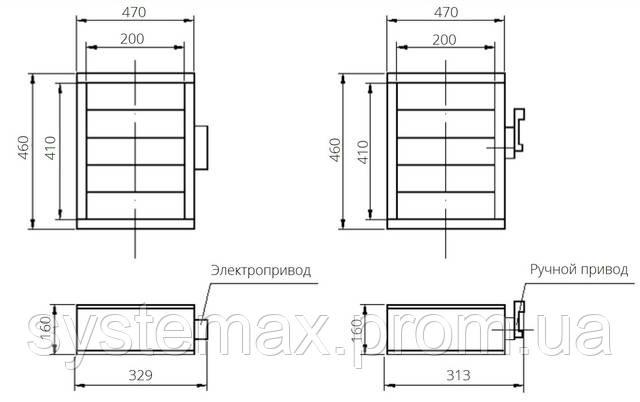 Габаритные и присоединительные размеры унифицированный клапан воздухозаборный УВК.000-03