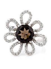 Кольцо серебряное с раухтопазом R-444 (р.18.0)