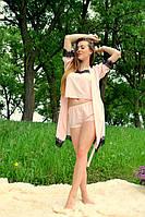 Молодежная пижама с шортиками и халат на запах цвета пудры, декорированные кружевом