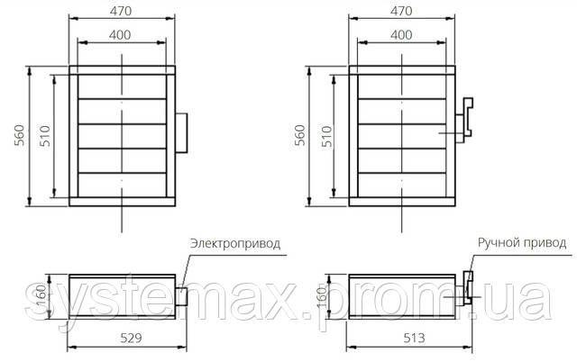 Габаритные и присоединительные размеры унифицированный клапан воздухозаборный УВК.000-09