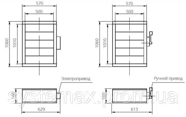 Габаритные и присоединительные размеры унифицированный клапан воздухозаборный УВК.000-20