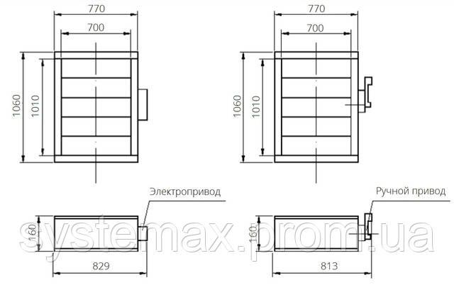 Габаритні і приєднувальні розміри уніфікований клапан повітрозабірний НВК.000-21