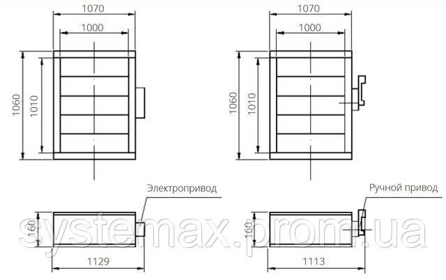 Габаритные и присоединительные размеры унифицированный клапан воздухозаборный УВК.000-22