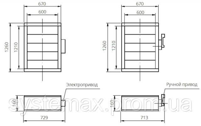 Габаритные и присоединительные размеры унифицированный клапан воздухозаборный УВК.000-23