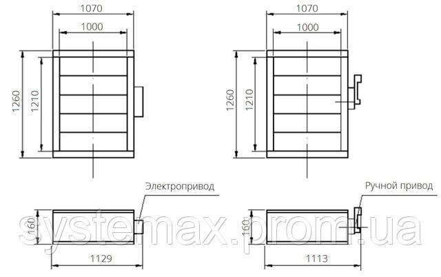 Габаритные и присоединительные размеры унифицированный клапан воздухозаборный УВК.000-24