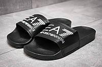 Шлепанцы мужские   Emporio Armani FlipFlops, черные (13531),  [  40 41 42  ] (реплика), фото 1