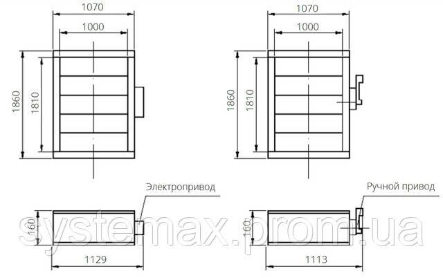 Габаритные и присоединительные размеры унифицированный клапан воздухозаборный УВК.000-27