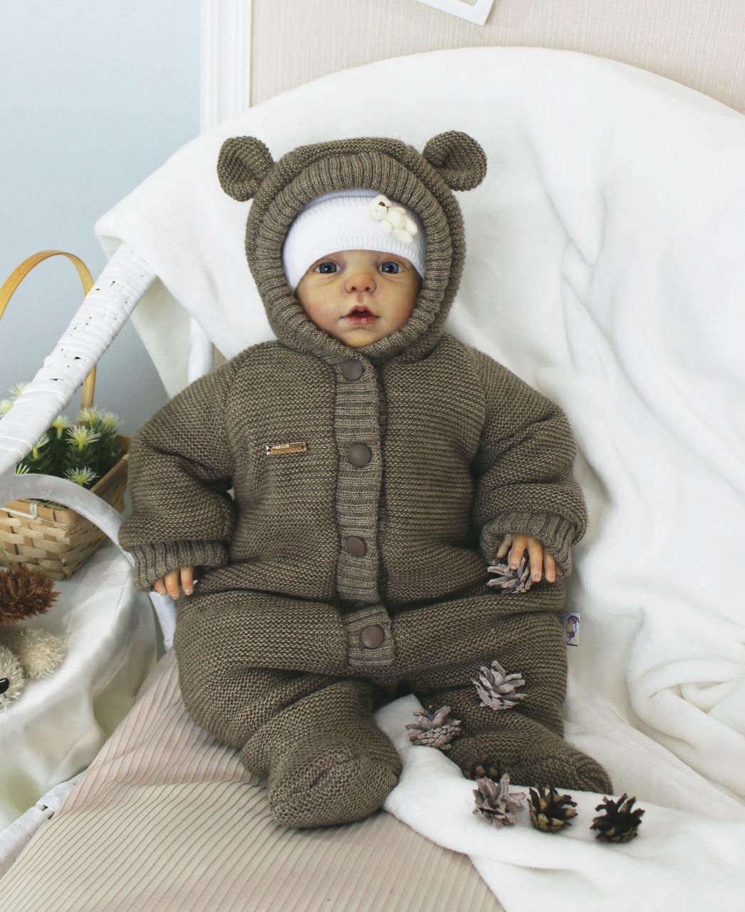 оригинальный вязаный комбинезон для новорожденного коричневый мишка