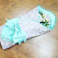 """Конверт-одеяло для новорожденных """"Букетное обрамление"""""""