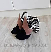 Босоножки закрытые на небольшом устойчивом каблучке замшевые бежевый+черный+белый Код 1614, фото 3