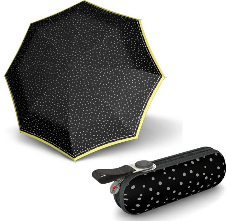 Женский зонт Knirps X1 Flakes Black Kn89 811 4990, механика, черный с желтым