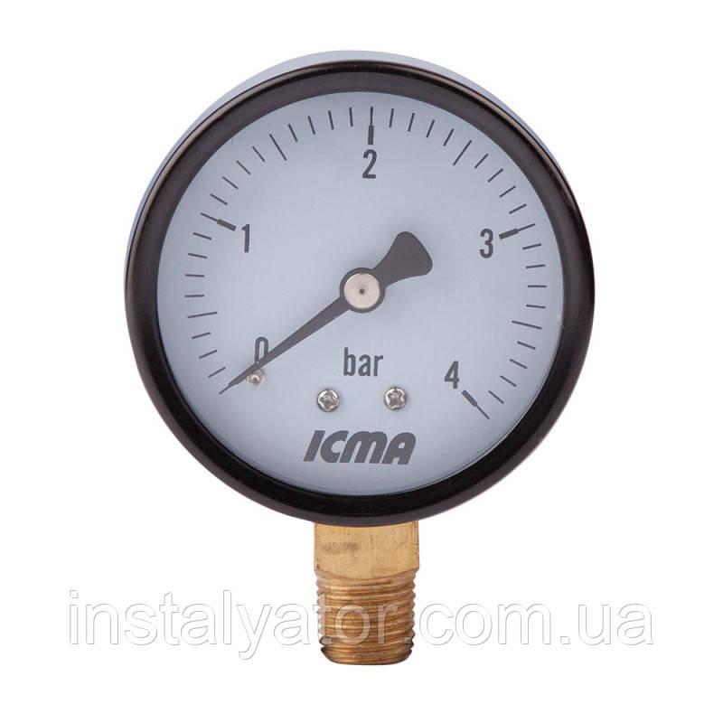 """Манометр нижнего.подключ.1/4   0-10 бар """"Icma"""" №244"""