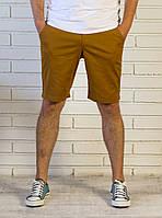 """Стильные хлопковые мужские шорты """"Grossular"""" до колен Горчичные, Размер L"""