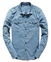 """Стильная рубашка с длинными рукавами """"Galena"""" с карманами Голубая, Размер L"""