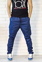 """Молодежные штаны - джокеры """"Microcline"""" со сборкой на голени  Синие, Размер M"""