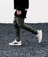 """Стильный зауженные брюки  """"Хип хоп""""  с металичскими застежками Хаки, Размер S"""