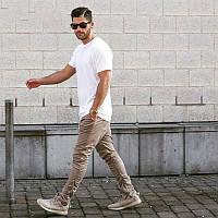 """Стильный зауженные брюки  """"Хип хоп""""  с металичскими застежками Бежевые, Размер S"""