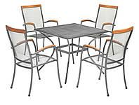 Комплект садовой мебели из метала (4 кресла + квадратный столик )